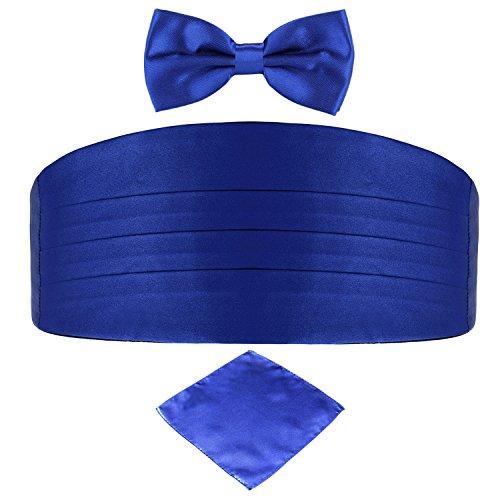 DonDon DonDon 3er Set Herren Kummerbund Fliege Einstecktuch farblich abgestimmt glänzend für feierliche Anlässe - Blau