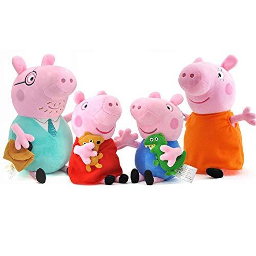 Pẹppạ Pig Plush Toys - Pack 4 Pcs Pẹppạ Pig Family - Péppá Pig Stuffed Animal Family, Pẹppạ Pig, Geogre, Mummy and Daddy Christmas Birthday Gift