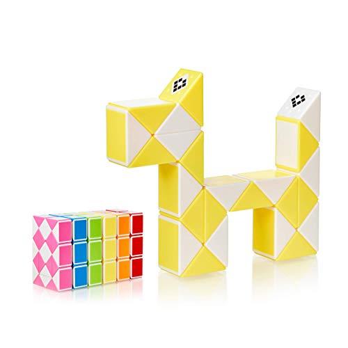 CUBIDI® Magic Snake mit 24 Blöcke - Knobelspiele für Kinder und Erwachsene - ideal als Mitgebsel Kindergeburtstag oder Kindergeburtstag Gastgeschenke oder kleine Geschenke für Kinder (Gelb)