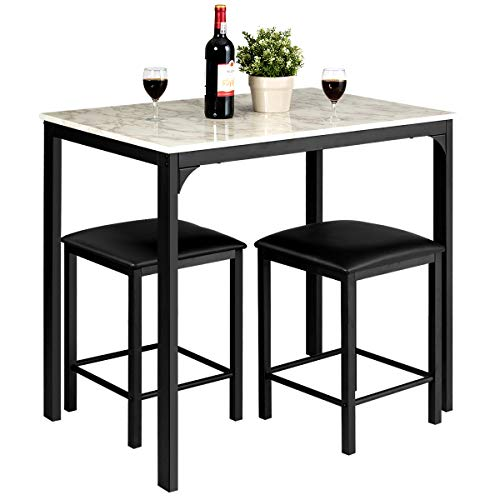 Giantex 3 Pcs Dining Table and Chairs Set with Faux Marble Tabletop 2 Chairs Contemporary Dining Table Set for Home or Hotel Dining Room, Kitchen or Bar (White & Black)