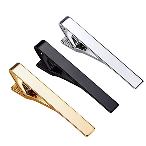 Roctee Tie Clips for Men, 3 Pack Classic Tie Clip Silver Gold Black Necktie Tie Bar Pinch Clips Suitable for Wedding Anniversary Business and Daily Life