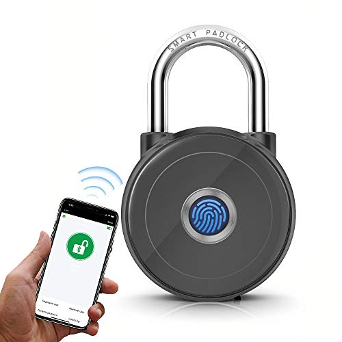 Smart Padlock, Bluetooth Padlock, EEOO Keyless Padlock for iOS/Android, Unlock via Fingerprint/APP, Suitable for Gym, Sports, Bike, School, Fence and Storage- Grey