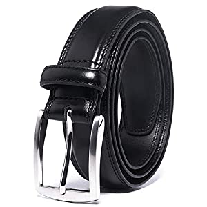 Men's Leather Dress Belt Silver Single Prong Buckle Belts for Men Jeans Khakis Dress Outfits