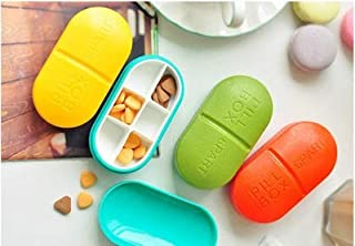 XZHMYYH Medicine box Two circular colored candy loaded cassette 6 cells pharmaceutical kit original gum mini kit portable one week (Color : Green)