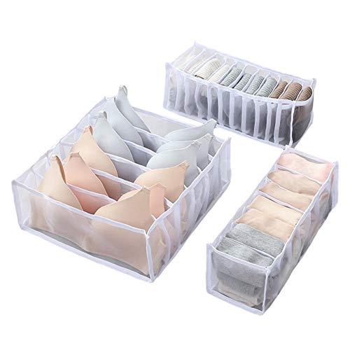 TARTIERY - Organizador de armario, organizador de escritorio y separadores de cajones de almacenamiento con cajones separadores para ropa interior, sujetadores, calcetines, bufandas, juego de 3