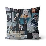 Cojín decorativo Billie Eilish Collage una funda de almohada Solid Square Cushion Cotton de...