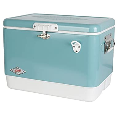 Coleman Vintage Steel-Belted Portable Cooler with Bottle Opener, 54 Quart, Turquoise