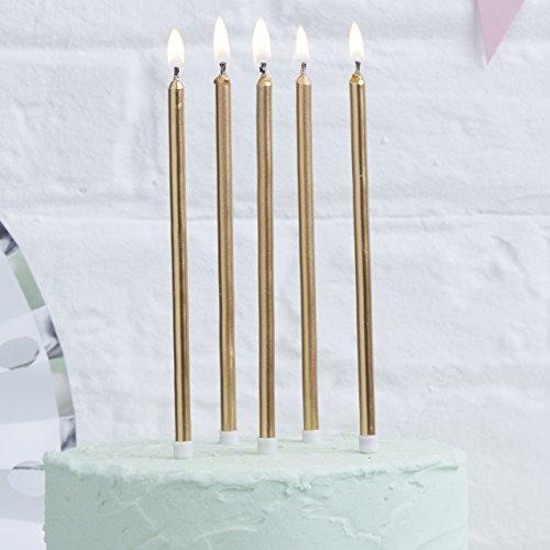 Ginger Ray Geburtstagskerzen, goldfarben, metallisch, 24 Stück