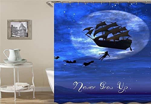 Zelf veel kinderen en zeilboten vliegen in de hemel. Douchegordijn. Waterdicht. Eenvoudig te reinigen. 180 x 180 cm.