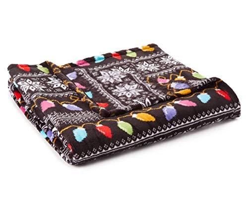 Just Home Fun Print Soft Cozy Lightweight 50 x 60 Fleece Throw Blanket (Black with Holiday Light)
