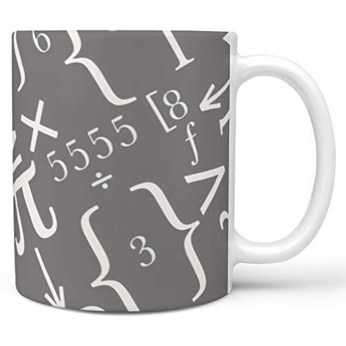 O2ECH-8 11 oz Lustige Mathe Weiß Getränke Cappuccino Tassen mit Griff Hochwertige Keramik Retro Style Becher - Weiße Kreide Klassenkamerad, Geeignet für White 330ml