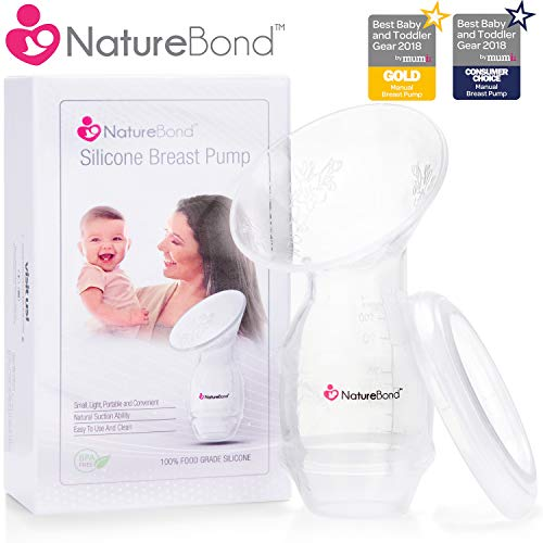 NatureBond Silicone Breastfeeding Manual Breast Pump Milk Saver Nursing Pump | Basic Pack with Cover...