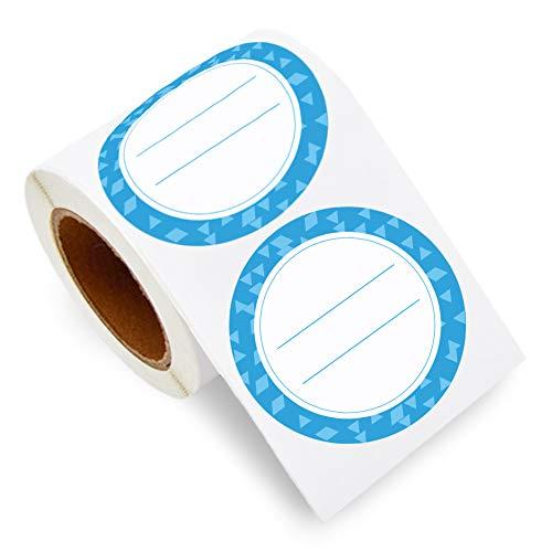 200 per rulle konserveringsetiketter, 2-tums klistermärken för förvaring av mat för konserveringsburkar och mer, avtagbar rund pappersetikett för frysskåp (ljusblå)
