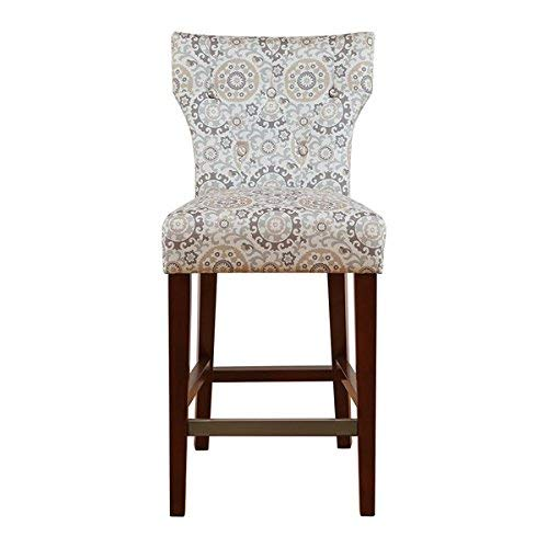 Madison Park Avila 38.25' Counter Height Barstool with Backrest Modern Solid Wood, Metal Kickplate Footrest, Upholstered Foam Seat, Linen Pub Chair, See below below, Taupe Bohemian