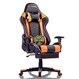 EAVANCEL Gaming Racing Chaise Ergonomique Inclinable Chaise de Jeu Fauteui de Bureau Pro Gamers de Massage avec Repose-Pieds Rétractable Support Lombaire (Orange)