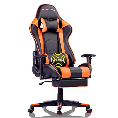 EVANCEL Gaming Racing Stuhl Computer Schreibtischstuhl Ergonomisches Design mit Breiten Rückenkissen, ausziehbahre Fußlehne und Massagegerät in Taillenbereich einfach mit den PC verknüpfen (Orange)