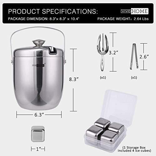 VIVOHOME 3 Quart Stainless Steel Double Wall Insulated Ice Bucket Set with Lid Tongs Scoop and 4 Reusable Stainless Steel Ice Cubes Silver