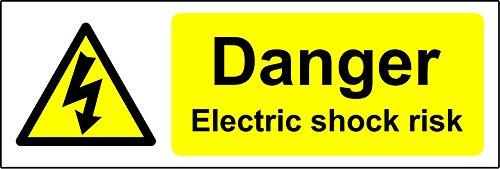 Peligro descarga eléctrica riesgo seguridad señal–vinilo autoadhesivo adhesivo 300mm x 100mm