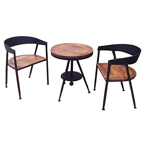 JU FU Tisch- und Stuhlkombination, Metall Haus Retro Tisch und Stuhl Kombination Balkon Hof Freizeit 3-teiligen Tisch und Stühle, 5 Stile zur Auswahl (Color : A, Size : 1 Table and 2 Chairs)