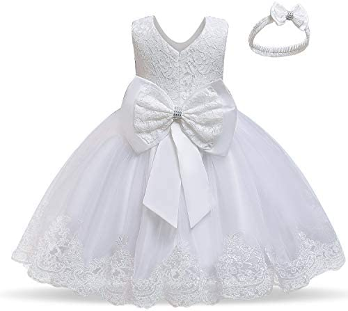 NNJXD Baby Girls Lace Dress Bowknot Flower Dresses Wedding Pageant Baptism Christening Tutu product image