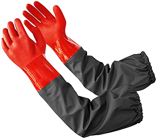 Coopache Wasserdichte Teich Handschuhe, Extra Langarm Voller Arm Handschuhe für Männer, rot