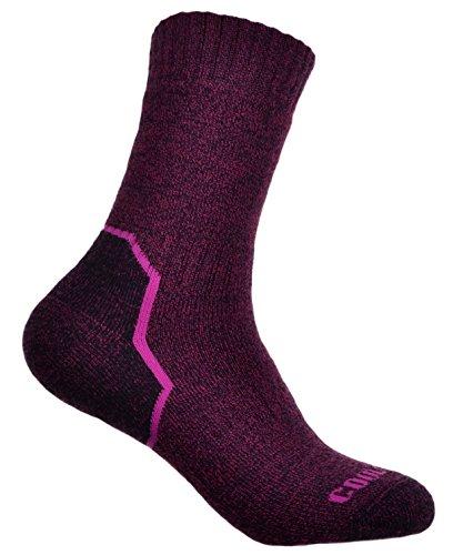 2 Pairs of Ladies Pink Wool Coolmax ® Walking Socks - Hiking, Size 4-7