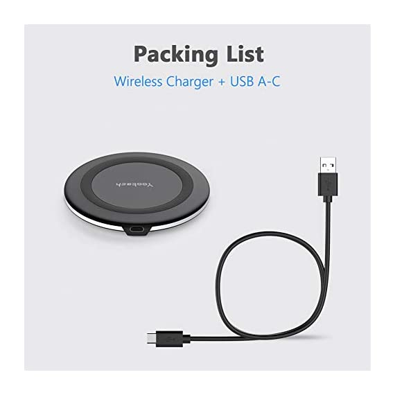 """Yootech Wireless Charger Qi-Certified 10W Max Fast Wireless Charging Compatible with iPhone 11/11 Pro/11 Pro Max/XS MAX/XR/XS/8Plus, Galaxy Note 10/Note 10 Plus/S10/S10 Plus/S10E(No AC Adapter) 3 【3 Charging modes Available for Different Phones】7.5W charging mode is for iPhone 11/11 Pro/11 Pro Max/XS MAX/XS/XR/X/8/8 plus with latest iOS System; 10W charging mode is compatible with Note 10/10 Plus/S10/S10 Plus/S10E/Note9/S9/S8 and so on; 5W charging mode works on Any Qi-enabled devices like Google Pixel 3/3XL/4XL and other Qi-enabled phones. Note: Adapter is Not Included, QC 2.0/3.0 adapter, iPhone 11 Pro /11 Pro Max PD Adapter, Note 10/10 Plus PD Adapter will be highly recommended. 【Unique Design Perfect for AirPods】 It is compatible with AirPods (with wireless charging case) and AirPods Pro. The size of the AirPods fits perfectly into the charging area of the wireless charging pad, perfect wireless charging companion for AirPods, easier to find the """"Sweet Spot"""". Also, both top and bottom have a rubber ring, will keep your AirPods in place and prevent slippage. 【Safer and Easier to USE】Exclusive Multifunctional Intelligent Protect Technology provides temperature control, surge protection, short-circuit prevention. Besides that, this wireless chargers is Qi-certified, made of ABS Material which is fire-resistant, and has a UL Certificate, you can purchase it at assurance. Double guarantee and dual safety provide you safety experience. To get better experience, we would like you to take off the phone case and use the adapters recommended (NOT INCLUDED)."""