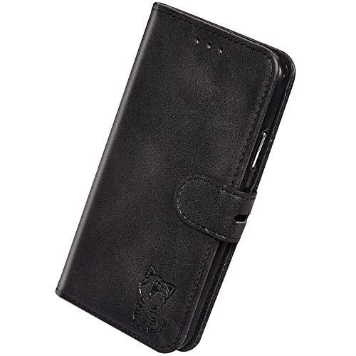 Herbests Kompatibel mit Huawei Mate 30 Pro Hülle Klapphülle Leder Tasche Flip Schutzhülle Wallet Handyhülle 3D Cool Katze Brieftasche Klappbar Hülle Book Case Kartenfächer Magnetisch,Schwarz