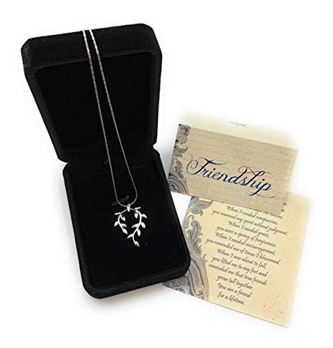 Smiling Wisdom - Vine Leaf Necklace Friendship Gift Set - A Reason Season Lifetime Friend Heartfelt Message - Unique Appreciation Gifts For Encouraging Her Women Best BFF - Platinum Plated - Silver