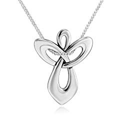 Sterling Silver Guardian Angel Cross Necklace