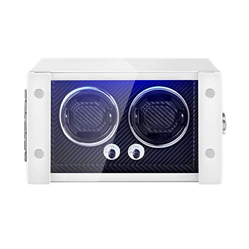 JQUEEN Double Watch Winder with Extremely Silent Motor,Built-in LED Illumination (White+Black)