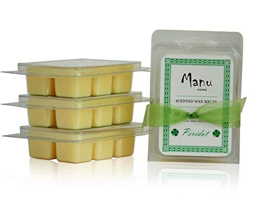 Manu Home Peridot Wachsschmelzen, 3er-Pack, Unser natürlich entspannender Duft schafft eine Zen-Like Erfahrung, weiche Mischung aus Bergamotte, Gardenie, Tuberose und Vanille