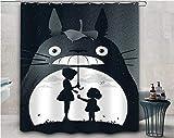 YUJEJ801 Totoro Duschvorhang 180x180 Anti-Schimmel & Wasserabweisend Shower Curtain mit 12 Duschvorhangringen 3D Digital Druck Farben Bad Vorhang für Badzimmer Dekorieren