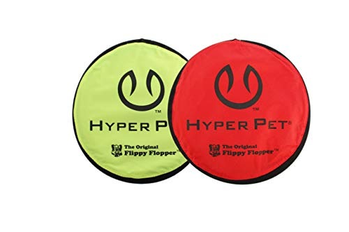 Hyper Pet Flippy Flopper Dog Frisbee Interactive Dog Toys [Flying Disc Dog Fetch Toy - Floats in Water & Safe on Teeth] (Pack of 2, Colors Will Vary)