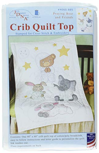 Jack Dempsey Praying Bear and Friends Crib Quilt Top, 40