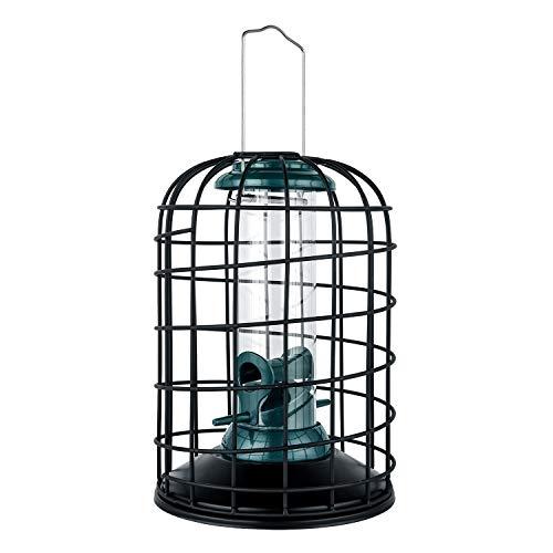 iBorn Squirrel Proof Bird Feeder with Squirrel, Pestoff Hanging Wild Bird Seed Feeder for Mix Seed Blends, Sunflower Heart, Birdbath, Heavy Duty All Metal Anti-UV Finishing, Green 8 Inch