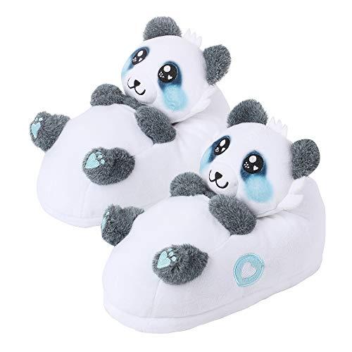 corimori 1847 - (Plusieurs Modèles) Panda Mei Chaussons avec Tête d'animal, Pantoufles Mignonnes en Peluche Polaire , Noir Et Blanc Taille Unique 34-44