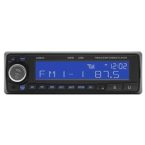 BEESCLOVER 1088 Lecteur MP3 Bluetooth USB/SD/AUX, radio de voiture, audio stéréo, radio FM, mains libres, lecteur CD de voiture, noir 12 V