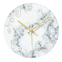 Baoblade ガラスマーブリング装飾現代大壁時計非カチカチサイレント掛時計のためのリビングルーム (12インチ) - 青、白