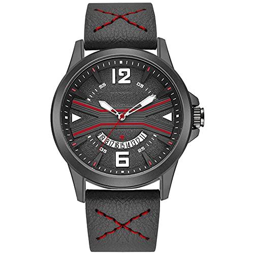 WNGJ Mira el Reloj de Cuarzo Deportivo al Aire Libre, Reloj de Hombre multifunción de Cuero a Prueba de Agua, Amigos y Familiares, Embalaje Exquisito Red