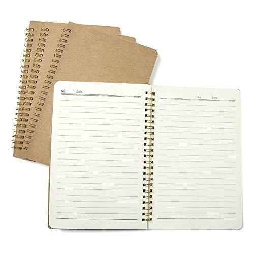 4 Piezas Bloc de Notas Espiral A5, Comius Sharp Cuaderno A5 Libretas, Cuadernos de Papel Kraft en Blanco, Diarios para Escolar, Notebook de Cubierta Kraft para Notas, Aprendizaje, Dibujo (Línea)
