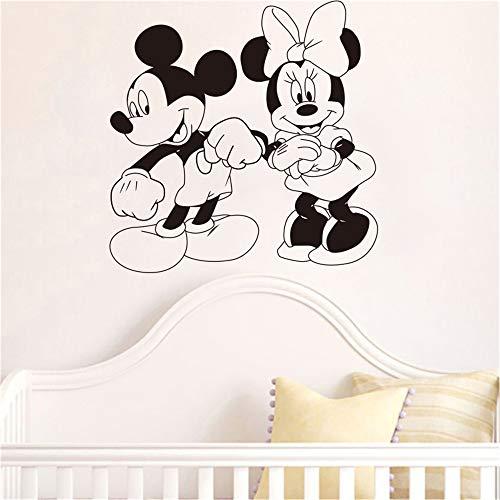 Pegatina Minnie Mouse Wall Art Mickey Mouse y Minnie Mouse Personajes de dibujos animados Baile Dibujos animados Decoración del hogar Guardería infantil