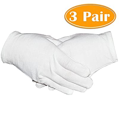Paxcoo 3 Pairs White Cotton Gloves for Dry Hand Cosmetic Moisturizing Coin Jewelry Inspection Spa – Medium Size