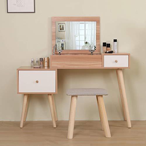 GWFVA Tocador y Taburete con Espejo y cajones Vanity Makeup Desk Tocad
