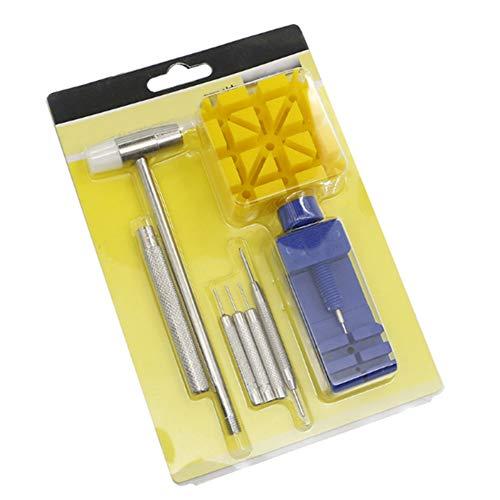 Doppelkopfhammerhammer, Uhrmacherhammer, Uhrmacher-Set für Batteriewechsel und Uhrenarmband-Verbindungsstifte-Entferner (7 Stück)
