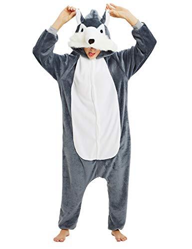 Mescara Pigiama Animali Cosplay Intero Unisex Costume Halloween Carnevale Festa Donna Uomo Animale Sleepwear (XL per Alto 178-188 cm, Lupo)