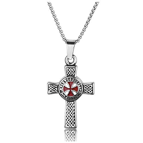 JOVIVI Men's Stainless Steel Viking Norse Celtic Knot Ordre Du Temple Maltese Cross Pendant Necklace 24' Chain