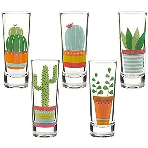 Cactus Party Shot Glasses for Cinco de Mayo and Fiestas (2 oz, 5 Piece Set)