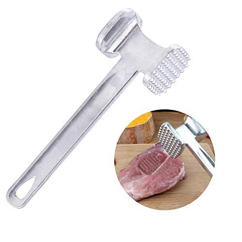 Lezed Aluminiumlegierung Fleischhammer Metall Fleischklopfer Hammer Doppelseitig Fleischhammer für Steak Rind Fisch Hähnchen Schweinefleisch 22.5 cm