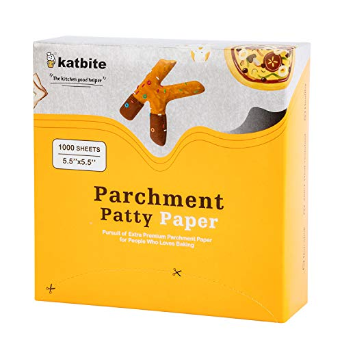 Katbite Parchment Paper Squares-1000, 5.5x5.5 in Parchment Square for Making Hamburger Patty